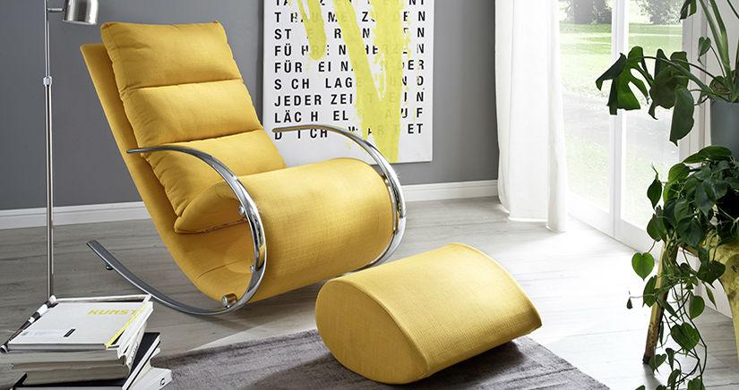 Стилен фотьойл и табуретка в жълто