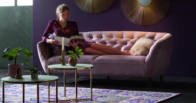 Триместен диван в ретро стил, пепел от рози