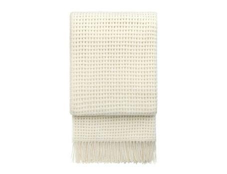 Стилно одеяло от вълна алпака - цвят бяло