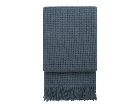 Стилно одеяло от вълна алпака - тъмносиньо