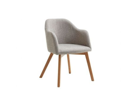 Тапициран стол - цвят бежово/сиво