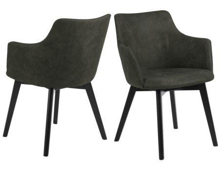 Стол с подлакътник - маслинено зелено