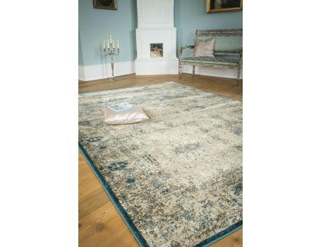 Стилен килим крем-тюркоаз