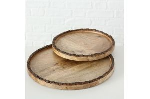 Кръгъл поднос от дърво манго - 27 см