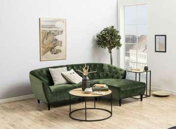 Двуместна гарнитура с лежанка, зелена дамаска и размери 222х148 см.